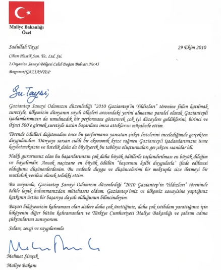Congroculation Letter From Mr Mehmet Simsek Quot Turkey